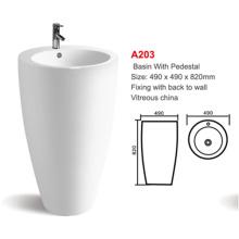popular elegant design restaurant floor standing ceramic bathroom basin price