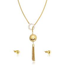 Neueste Ankunft 22K Gold Halskette Set Quaste indische Braut Diamant-Schmuck-Set
