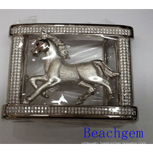 Chinese Zodiac Horse Sterling Silver with CZ Belt Buckle for Man