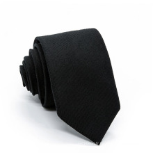 Cravate tissée en polyester noir uni