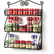 Black 3 Tier Kitchenware Kitchen Rack Scroll Wall Mount Spice Rack
