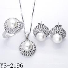 Joyería de imitación de plata 925 Conjunto de joyas de pera para señoritas.