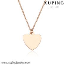 43836 collier de chaîne en or simple mode pas cher 18k forme de coeur pendentif en or plaqué collier de bijoux