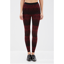 Fair Isle Patterned Leggings with Elasticized Waist