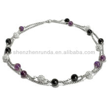 "2013 New Products Crystal Amethyst and Black Agate 18"" Double Strand Necklace"