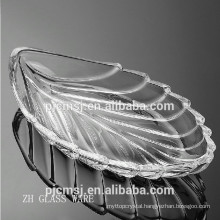 clear leaf shaped crystal fruits plate for home decoration