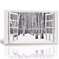 3D-вид на стену Декор лесного холста / Березовая роща Печать на холсте Опт / Зимний пейзаж Домашнее украшение Настенное искусство