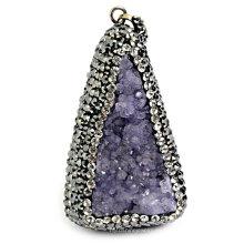 Colgante de amatista de cristal de moda con Rinestone Pave