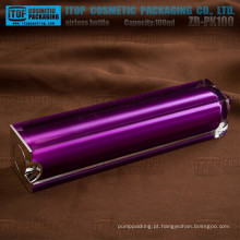 ZB-PK100 100ml revestimento lustroso devenda duplicar camadas vazio quadrado 100ml luxo airless bottle