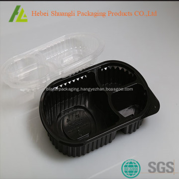 black plastic food container with clear lids