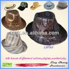 LSF30 Ningbo Lingshang 2014 Atacado Cooling Sequins Fabric Fedora equipado chapéu