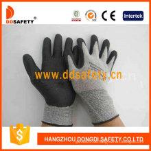 Graues Nylon mit schwarzem Nitrilschaum-Handschuh-Dnn712