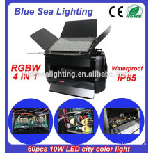 High power DMX 60pcs 10w 4 in 1 RGBW led wall washer light