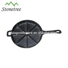 Fabricante de panqueques de hierro fundido redondo resistente con mango