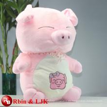 ICTI Audited Fábrica de alta calidad de promoción personalizada de color rosa juguete de peluche de cerdo