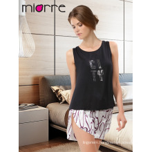 Miorre OEM New 2017 Season Women's Fashionable Sleeveless Printed Singlet Top & Sexy Satin Short Summer Pajamas Set