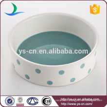 Light-blue handpainted ceramic pet bowl