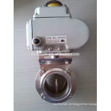 Válvula de borboleta sanitária elétrica do aço inoxidável