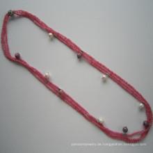 Dunkel rosa Farbton Edelstein Triple-Zeile Charm Halskette