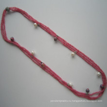 Темно-розовый тон драгоценный камень тройной рядок шарм ожерелье