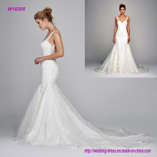 Organza de seda com decote em v com bordado vestido de noiva de renda