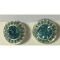 Blue Gem Metal Earrings for Beauty