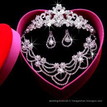 Ensembles de bijoux en cristal pour la mariée de mariée (collier + boucle d'oreille + couronne) Ensemble de collier en cristal F29101