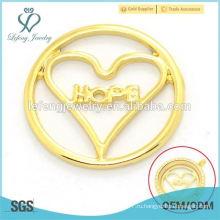 Дубай золотой сплав стекла памяти плавающие прелести любовь сердце медальон сердце НАДЕЖДА пластины ювелирные изделия