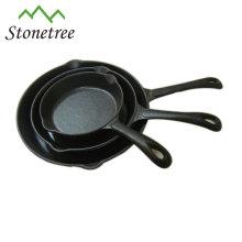 Poêles en fonte à cuisson à poignée unique pré-assaisonnées
