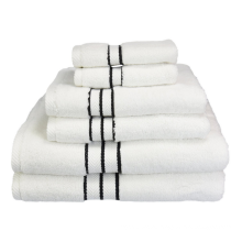 2015 Superior Hotel Collection 6-Piece Luxurious Towel Set, White with Black Border,WUXI