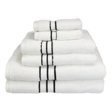 2015 отличный отель 6-Piece роскошный набор полотенец, белое с черной каймой,уси