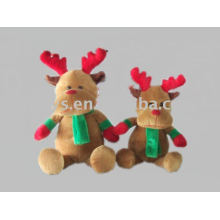stuffed and plush christmas moose with scarf