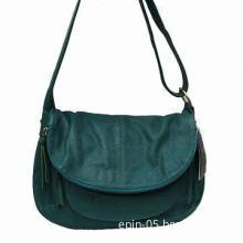 Blue Leather Shoulder Bag, Soft Hobo Bag with Pocket Front, More Colors Available