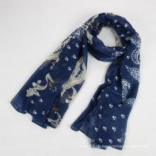 Art und Weise Herbst lang Polyester Voile Frauen blauen Schal
