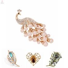 Broche coreana de la araña de la joyería al por mayor de la manera, broche de la pluma del pavo real de la perla de la aleación de la vendimia