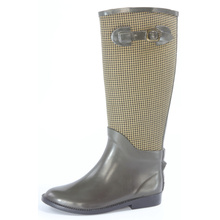 Brown Swallow Grid Riding Pointed Rubber Rain Boots