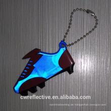 Günstige Kunststoff hellblau Schuhform reflektierende Schlüsselanhänger Giveaways