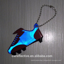 Cheap bulk plastic light blue shoe shape reflective keychain giveaways
