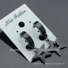 Modeschmucksache-Klippohrringe Huggie Chirurgischer Stahlschwarz-Ohrringe HE-104