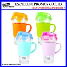 450ml vidro transparente colorido fechado bebendo copo com alça (EP-LK57274H)