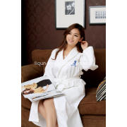 100% cotton waffle bathrobe with piping and embroidery logo