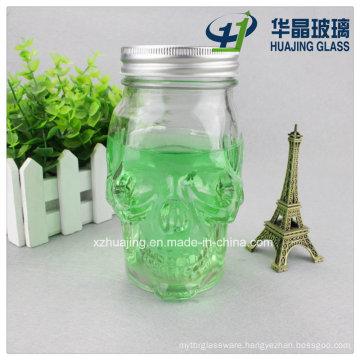 450ml 16oz Clear Empty Candy Skull Shape Glass Mason Jar