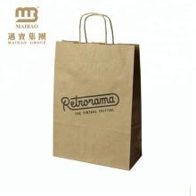Alibaba Fornecedor Trançado Alças Personalizadas Impressão Brown Kraft Paper Bag Fabricante Na Malásia