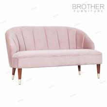 Novo design rosa moldura de madeira 2 lugares sofá