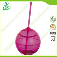 500 Ml como copo de acrílico em forma de bola com palha (TB-A5)