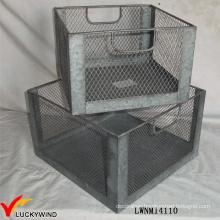 Set 2 Vintage Industrial Metal Wire Storage Crate