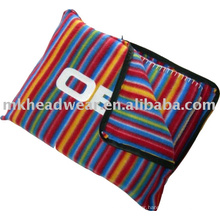wholesale striped fleece blanket pillow
