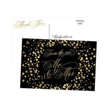 La boda fresca blanco y negro le agradece las tarjetas Tarjeta de lujo de la invitación de la boda del diseño de la tarjeta de boda