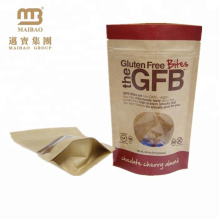 Resealable Stand Up Zipper Pouch Plastic Lined Brown Kraft Food Packaging Paper Bags With Window