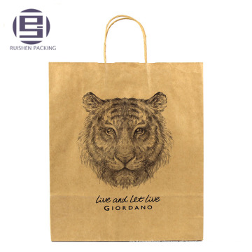 Impressão personalizada brown kraft paper bag twisted handle